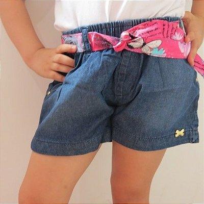 Short jeans Malwee com faixa colorida