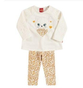 Conjunto infantil moletom e cotton gatinha