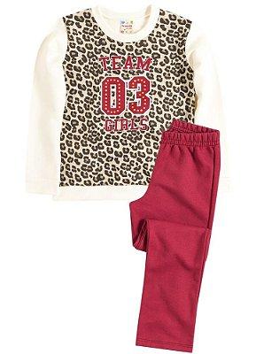 Blusão e calça infantil Brandili Club com estampa de glitter