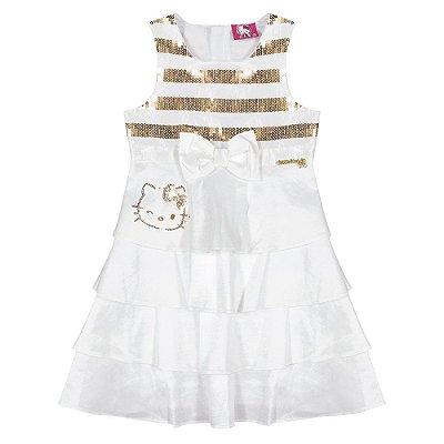 Vestido branco e dourado Hello Kitty
