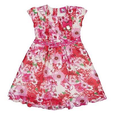 Vestido floral rosa em chiffon Premium Hello Kitty