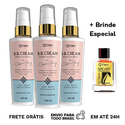 3x BBCream Cintia Yang 250 ml + Brinde Óleo de Argan 10 ml