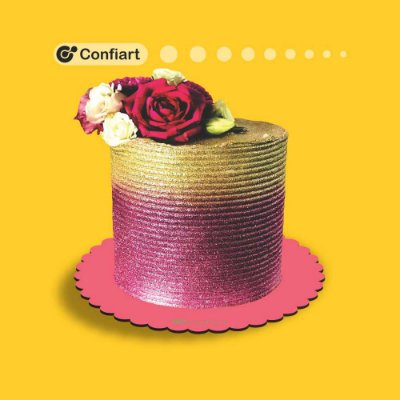 Cake board babado rosa 3mm