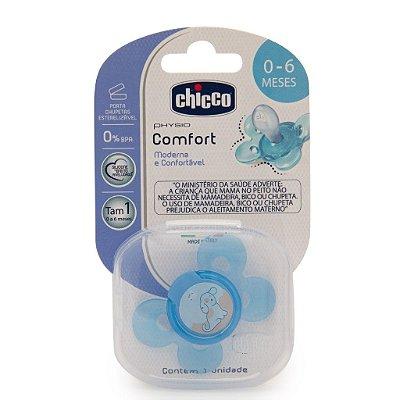 Chupeta Chicco Physio Comfort 0a6M com Porta Chupetas Azul