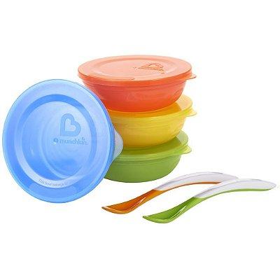 Conjunto 4 Tigelas coloridas com tampa e 2 Colheres Munchkin