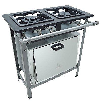 Fogão Industrial Baixa Pressão 2 bocas com forno Linha S2000 30x30 M10 Metalmaq