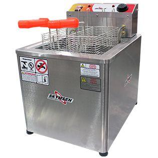 Fritadeira elétrica água e óleo inox de mesa - FRM-18 - Skymsen