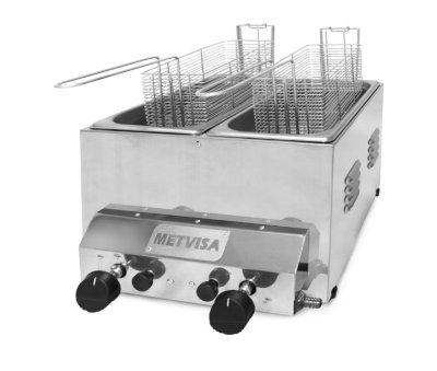 Fritadeira a Gás Inox 2 cubas 6L - FG3D Metvisa