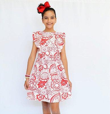 Vestidinho Branco com Floral Vermelho