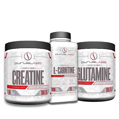 Combo Glutamina 300g + L-Carnitina 100 capsulas + Creatina monoidratada 300g