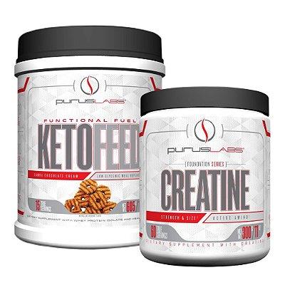 Combo Proteína Isolada Ketofeed 600g + Creatina Monoidratada 300g (100 doses)