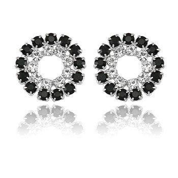 Brinco prata c/ dois círculos de strass folheado a prata- BS2805 P
