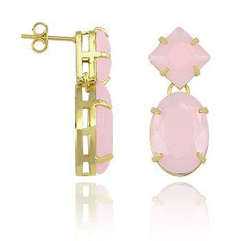 Brinco folheado a ouro c/ pedras acrílicas na cor rosa