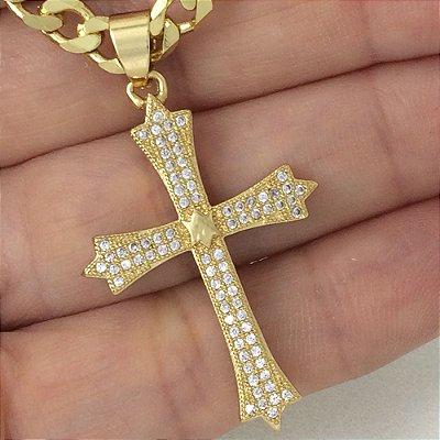 pingente crucifixo zircônias 3,50cm x 2,40cm