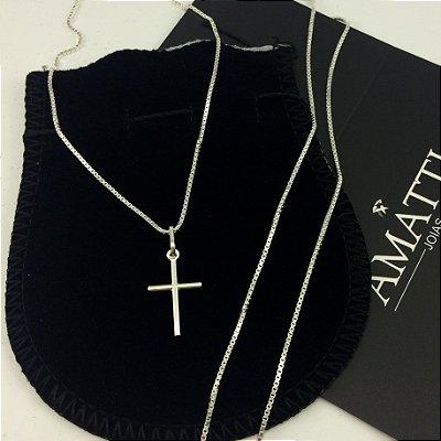 conjunto corrente veneziana 60cm x 1,5mm e crucifixo 481