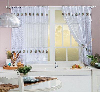 Cortina para cozinha de Renda Flamingo