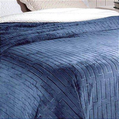 Cobertor Soft Flanel Queen Sherpa Vermot Azul