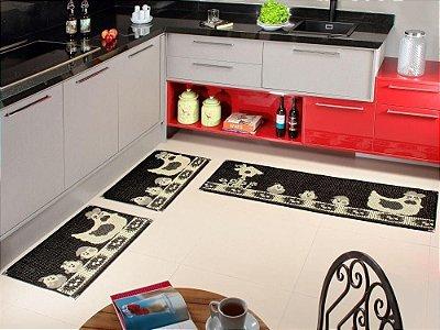 Jogo de tapete cozinha 3 peças Sizal com cantoneiras - Preto, estampa Galinha
