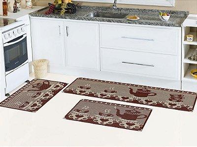 Jogo de tapete cozinha 3 peças Sizal com cantoneiras - Estampa Frutas e Legumes