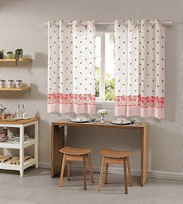 Cortina para Cozinha Allegra 2,60x1,20 Melancia - Bella Janela