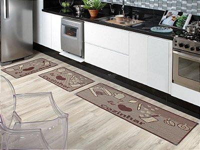 Jogo de tapete cozinha 3 peças Sizal com cantoneiras - Amo Cozinhar Tabaco