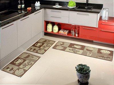 Jogo de tapete cozinha 3 peças Sizal com cantoneiras - Café