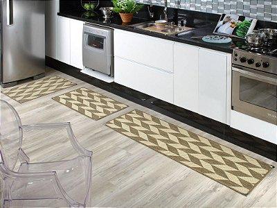 Jogo de tapete cozinha 3 peças Sizal com cantoneiras