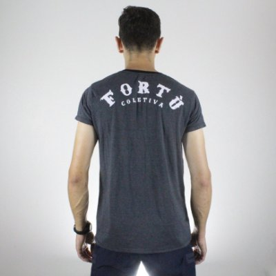 Camiseta Slim Fortù Logo Mescla com Branco