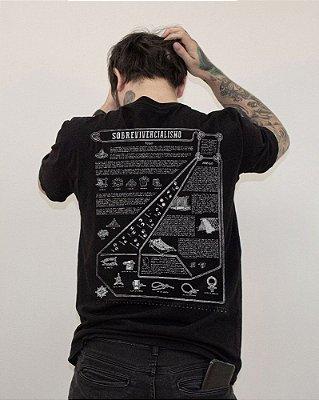 """Camiseta preta """"Sobrevivencialismo"""" [A última colab]"""
