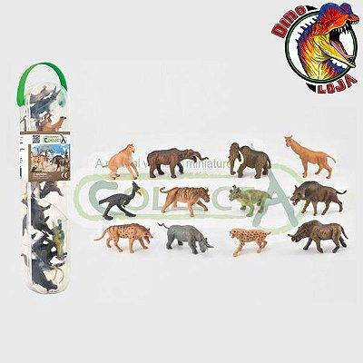MINI MAMÍFEROS PRÉ-HISTÓRICOS COLLECTA CAIXA COM 12 MINIATURAS DE ANIMAIS PRÉ-HISTÓRICOS