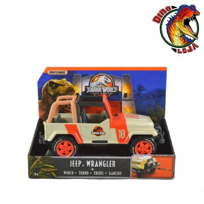 JEEP WRANGLER JURASSIC PARK LEGACY COLLECTION COM GUINCHO MATTEL