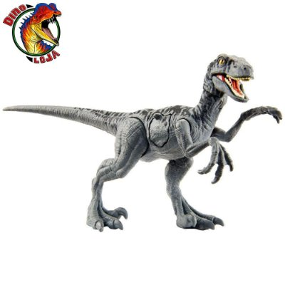 VELOCIRAPTOR CINZA BATTLE DAMAGE JURASSIC WORLD MATTEL PRIMAL ATTACK COMBATE LETAL
