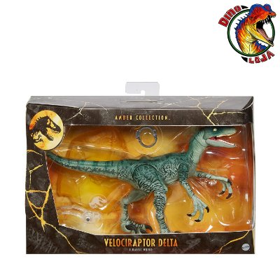 VELOCIRAPTOR DELTA AMBER COLLECTION JURASSIC WORLD MATTEL