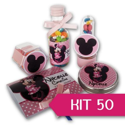 Kit Personalizado para Festas - 50 Unidades de Cada - Completo