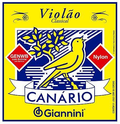 Encordoamento Cordas para Violão Nylon Canário Giannini c/ Bolinha