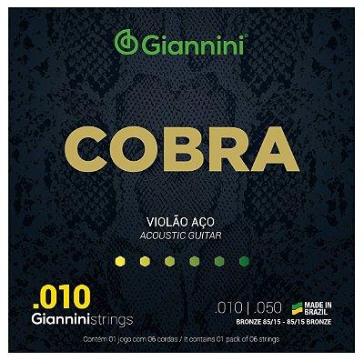 ENCORDOAMENTO COBRA VIOLÃO BRONZE 85/15 0,10 - 0,50
