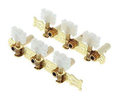 Tarraxa Pino Grosso Dourada para Violão 6 Cordas Nylon