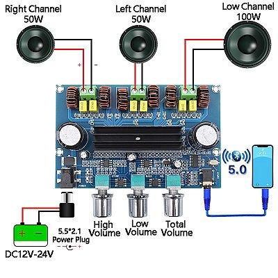 Placa Amplificadora Audio 2.1 200w Rms 2x50+100w Bluetooth