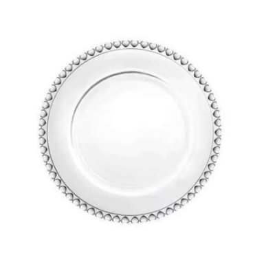 Prato Raso de Cristal Coração Transparente 28 cm - Lyor
