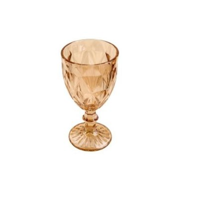 Taça para Agua de Vidro Diamond Âmbar Metalizado 325 ml- Lyor