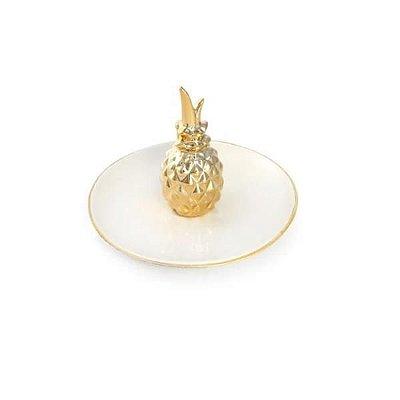 Mini Prato com Abacaxi Dourado de Porcelana
