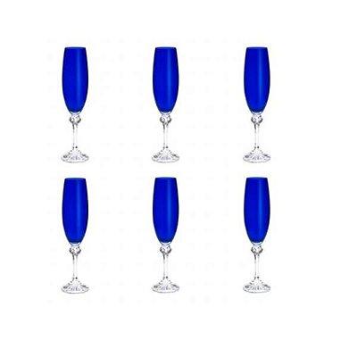 Conjunto com 6 Taças para Champanhe em Cristal Elisa Cobalto 220ml