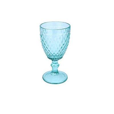 Taça para Água Bico de Abacaxi Azul Tiffany Vitral  Verre