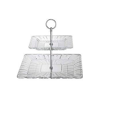 Porta Doces / Doceira de 2 Andares de Cristal Quadratta