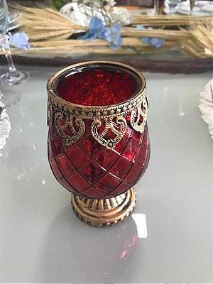 Vaso / Castiçal de Vidro Vermelho com Pé 14,5cm