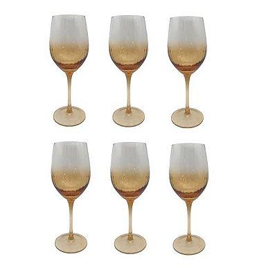 Jogo com 6 Taças para Vinho Branco de Vidro Degrade Dourado