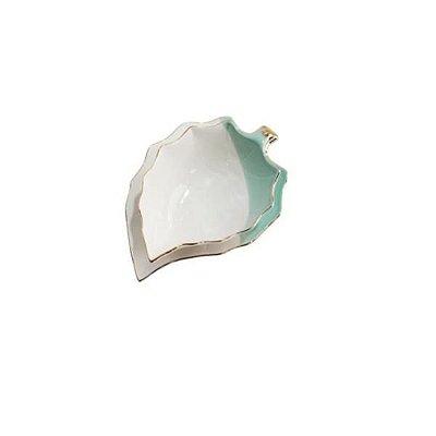 Conjunto 2 Peças Bowl e Prato de Folha Branca e Verde