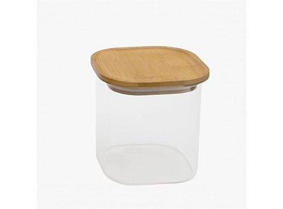 Pote Hermético de Vidro e Bambu Quadrado 800ML
