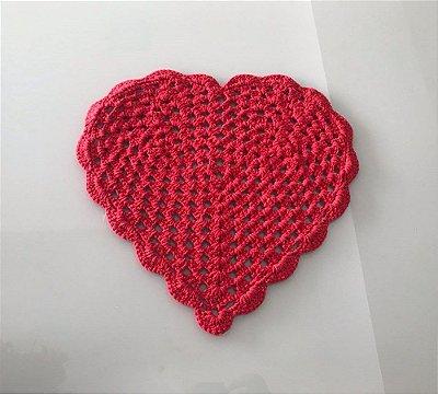 Lugar Americano Coração de Crochê Vermelho