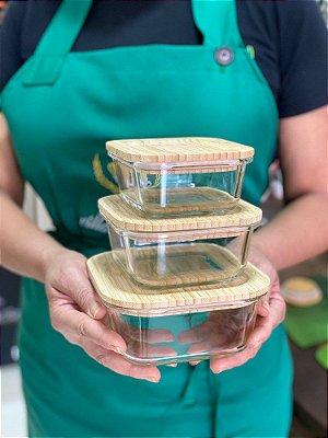 Kit 3 Potes Herméticos Raso de Vidro Quadrado com Tampa de Bambu